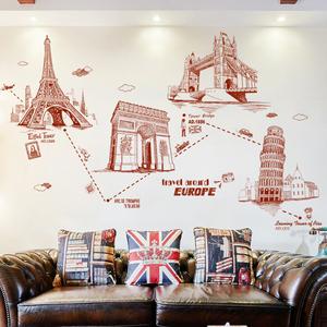 文艺手绘欧式建筑铁塔墙贴纸个性时尚卧室客厅沙发背景墙壁纸贴画