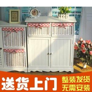 田园实木斗柜美式床头柜卧室储物柜组合柜藤编田园五斗橱抽屉窄柜