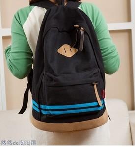 猪包包双肩包撞色帆布情侣旅行书包包韩版横条猪鼻子学生休闲