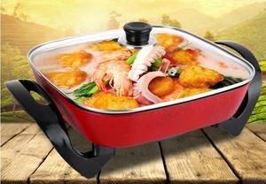 無煙不粘電熱鍋炒蒸煮方鍋煎烤鍋電火鍋煎盤韓式電熱鍋多功能家用
