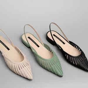 凉鞋女2019新款不漏?#38761;?#31354;凉鞋女2019新款?#27597;?#21476;尖头条纹包脚平底