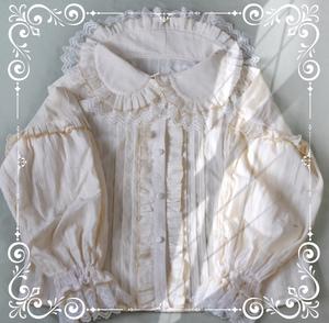 【现货】奶油甜心内搭雪纺木耳花边大翻领Lolita内搭短袖衬衣长袖