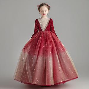 兒童禮服公主裙花童婚紗生日女童鋼琴演出服走秀主持人晚禮服秋冬