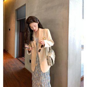 錢夫人休閑小西裝外套女2020春秋季韓版寬松小個子網紅西服套裝