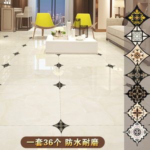 瓷砖地砖贴纸地板贴防水耐磨自粘客厅地贴地面美缝装饰贴花对角贴