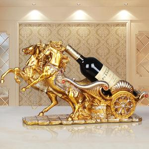 歐式紅酒架擺件創意家居軟裝工藝品馬喬遷新居禮品客廳酒柜裝飾品