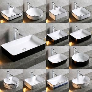 北歐臺上洗臉單盆家用陽臺洗手池黑色陶瓷小號圓面盆輕奢方形水槽