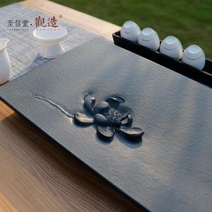 觀造天然烏金石茶盤整塊家用石頭茶臺茶海黑金石茶盤簡約茶具套裝