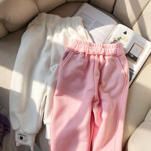 宝贝小象童装2019春新款休闲两色针织侧缝拼接运动风儿童宝宝长裤