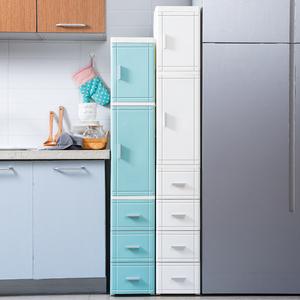 25/35cm夹缝开门抽屉式收纳柜子床头柜塑料厨房储物柜多层整理柜