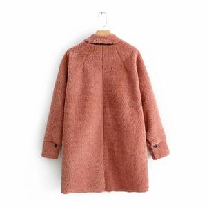香港潮牌冬装新品中长款皮毛一体抓绒衫外套女衬衫 3427215 3