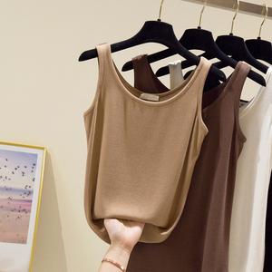 夏季純棉小吊帶背心女寬松外穿U領美背網紅爆款薄針織打底內搭潮