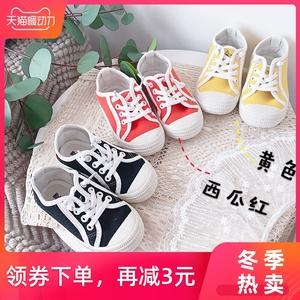 新秋季宝宝透气板鞋女童休闲软底帆布鞋儿童一脚蹬懒人鞋运动鞋子