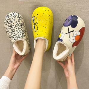 防水棉拖鞋女冬天時尚居家保暖網紅ins潮外穿防滑拖鞋女士秋冬季