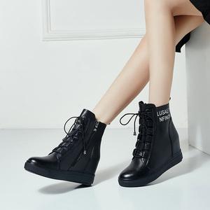 马丁靴女短靴2019新款秋冬真皮坡跟小码棉鞋冬鞋内增高女鞋雪地靴