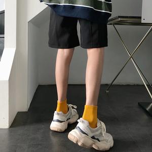 黑色袜?#20248;?#30701;袜浅口中筒夏薄款秋季?#21487;?#36816;动袜男秋冬网红款ins潮