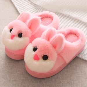 包后跟加絨小孩棉拖鞋女女童防滑兔子幼兒園保暖鞋加厚女寶寶防水
