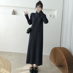 超長款毛衣裙過膝寬松女秋冬新款加厚內搭打底黑色針織連衣裙長裙