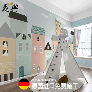 北欧卡通房子儿童房墙纸男孩卧室壁纸无缝环保定制装饰壁画