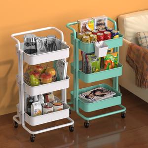 小推車嬰兒寶寶用品置物架廚房落地多層收納架子手推移動帶輪零食