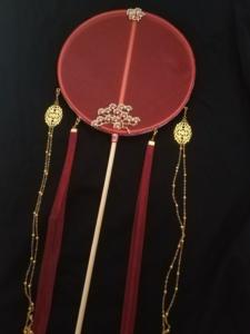 中国风汉服破云扇长柄团扇汉服古风流苏宫扇子古代刺绣饰品古风扇
