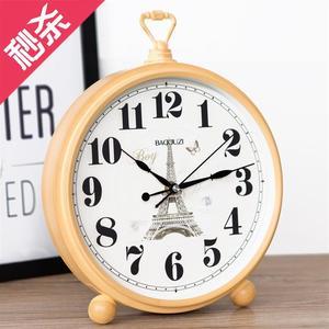 创意坐钟表座钟客厅摆件v欧式大号复古台钟时钟r桌面台式钟家用摆