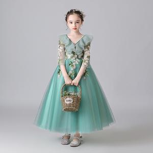 兒童禮服生日公主裙鋼琴演出服走秀花童主持人蓬蓬紗女童晚禮服冬