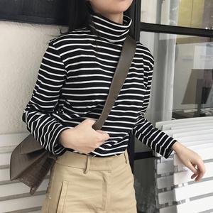 高領條紋t恤女長袖寬松秋冬季韓版上衣純棉百搭修身加絨打底衫女