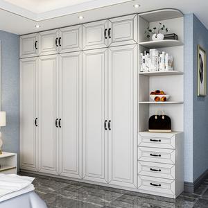 簡約現代衣柜家用臥室實木質板式柜子整體組合四五門大衣櫥免安裝