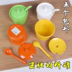 密胺材料罐调料罐佐料盒带盖带勺塑料仿瓷餐具快餐饭店厨房用品