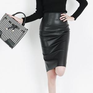春秋PU皮裙半身裙修身高腰包臀裙顯瘦黑色中裙一步裙女裝大碼包裙