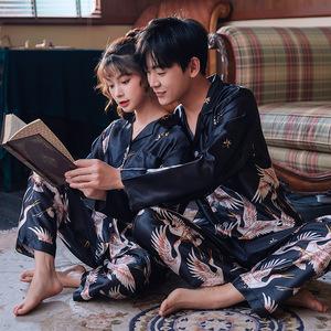 新品情侶睡衣男女士春夏長短袖冰絲綢睡衣套裝仙鶴印花西裝領睡衣