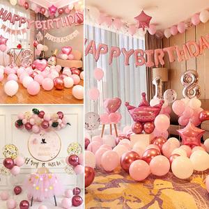 女孩寶寶周歲生日裝飾品派對氣球兒童主題場景布置背景墻網紅ins