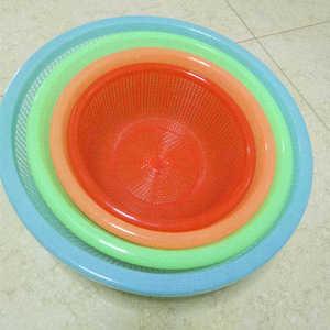 圓形塑料水果籃子瀝水收納筐收納周轉熟料摔不爛麻辣燙洗菜籃