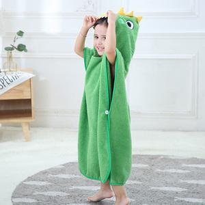 冬天兒童浴巾浴袍斗篷加厚帶帽純棉吸水男女寶寶洗澡浴巾恐龍浴衣