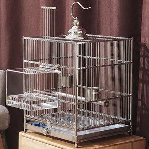 nimiwei八哥鳥籠籠大號304不銹鋼玄鳳籠子豪華大型洗澡鸚鵡籠專用