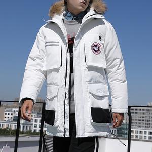 小魔鱼羽绒服男中长款韩版潮流帅气2019冬季男士工装外套宽松潮牌