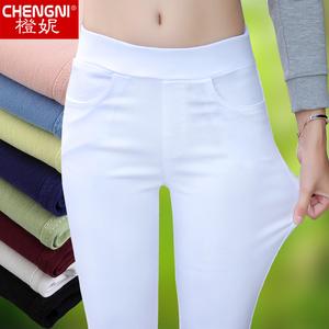 白色打底褲女外穿夏季薄款2020新款高腰彈力顯瘦百搭小腳鉛筆九分