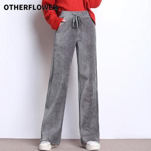 2019秋冬新款加绒灯芯绒阔腿裤女复古宽松加厚条绒垂感直筒长裤子