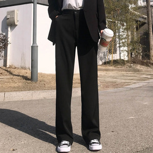 坠感阔腿裤女高腰春秋季显瘦直筒裤毛呢长裤?#31995;?#35044;垂感学生西装裤