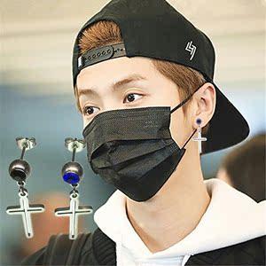 韓國簡約光面長款耳釘男士鈦鋼十字架耳環鉆耳針氣質耳飾潮人嘻哈