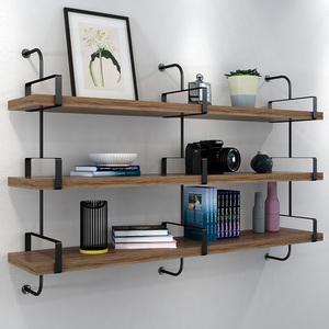 書架墻上置物架實木創意掛墻壁架子鐵藝墻面一字擱板客廳簡易層板