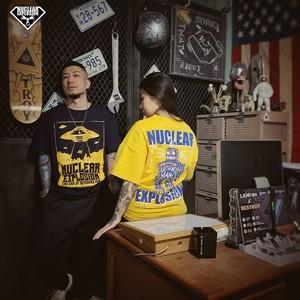 核爆炸潮牌2020年 键盘侠的下场 宽松加肥加大码蓝色UFO短袖T恤男