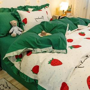 網紅北歐全棉床上四件套純棉荷葉邊韓版床單被套1.8m床笠三4件套