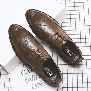春季男皮鞋尖頭皮鞋男士英倫布洛克潮鞋韓版青年商務休閑皮鞋子男