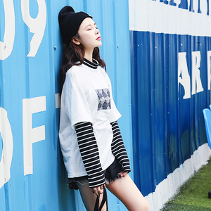2019新款chic秋裝上衣服慵懶港味長袖假兩件寬松條紋t恤女打底衫