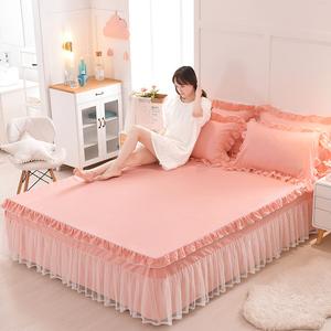 萱羽韓版公主花邊蕾絲床裙單件床罩防滑荷葉邊席夢思床墊保護套