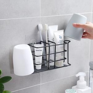 免打孔衛生間牙刷架電動牙刷壁掛式牙杯架牙刷置物架吸壁式牙缸架