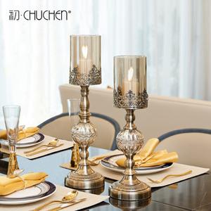 歐式燭台擺件複古金屬鐵藝水晶玻璃浪漫燭光晚餐桌道具美式裝飾品