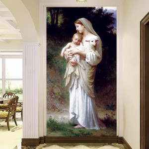 西方圣母玛利亚钻石画玄关走廊客厅满钻石绣基督教信仰贴钻十字绣